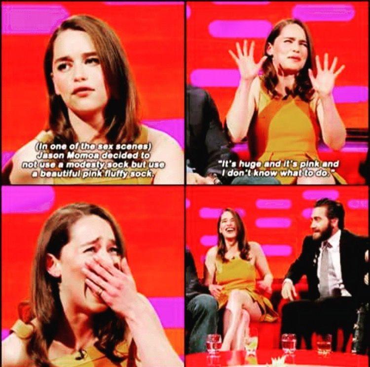 Emilia On Doing Sex Scenes With Jason Momoa