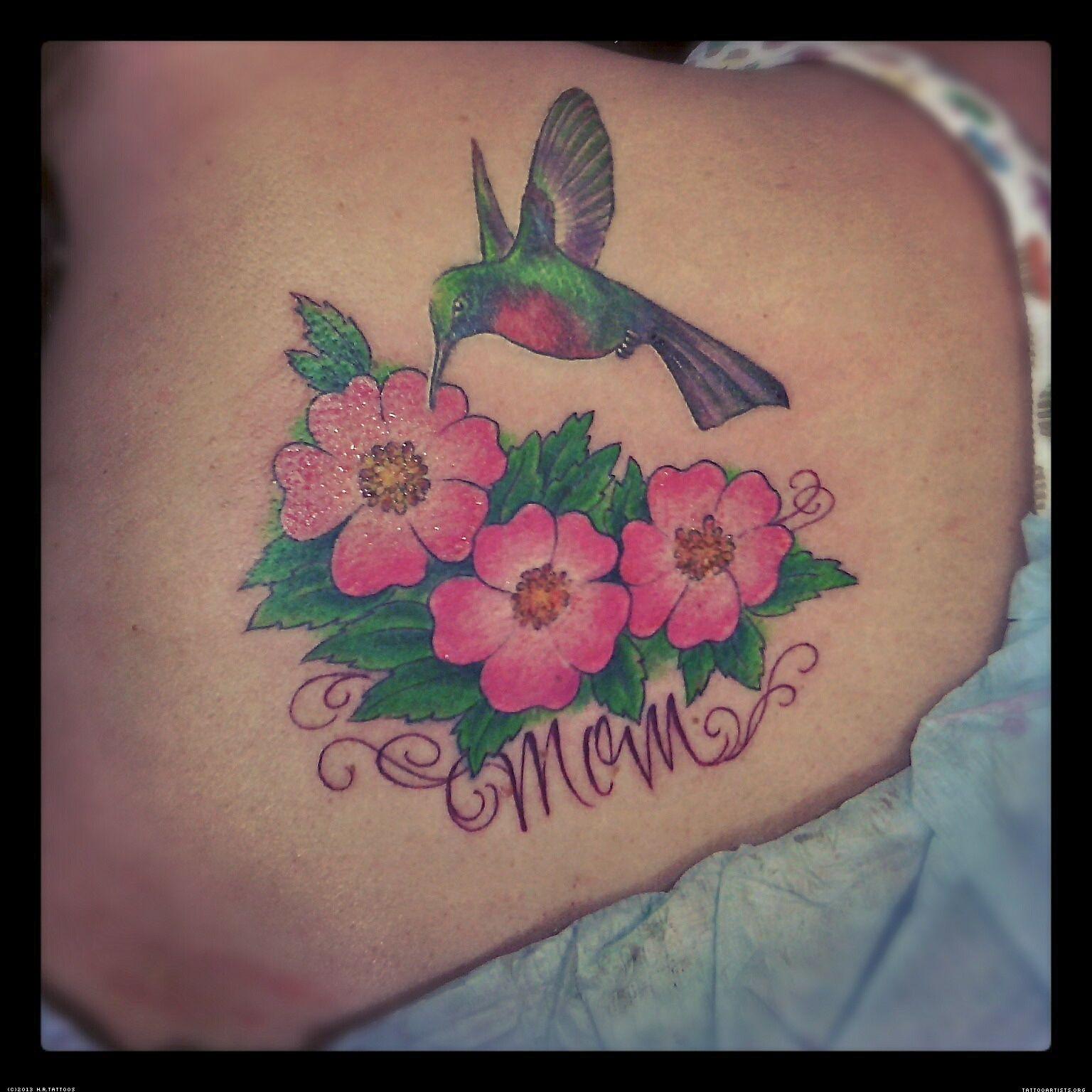 Hummingbird with Flower Tattoo Art Hummingbirdfor her
