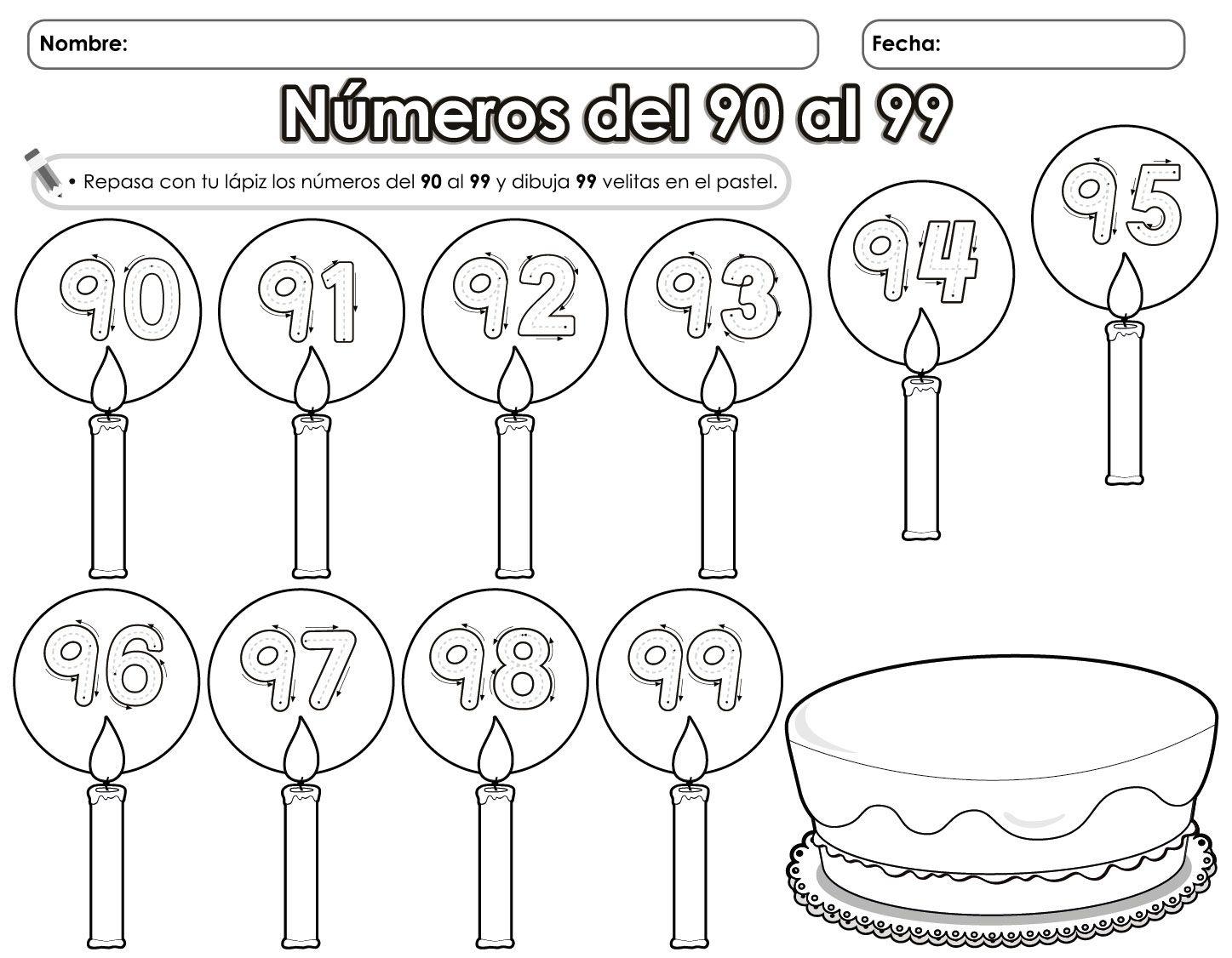 Números del 90 al 99 | mates numeracio | Pinterest | Los 90 y Números