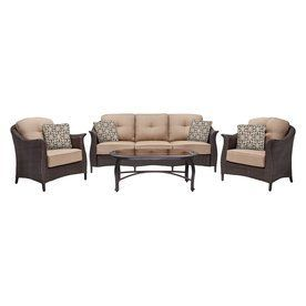 Hanover Outdoor Furniture Gramercy 4 Piece Wicker Patio Conversation S Patio Seating Sets Outdoor Furniture Sets