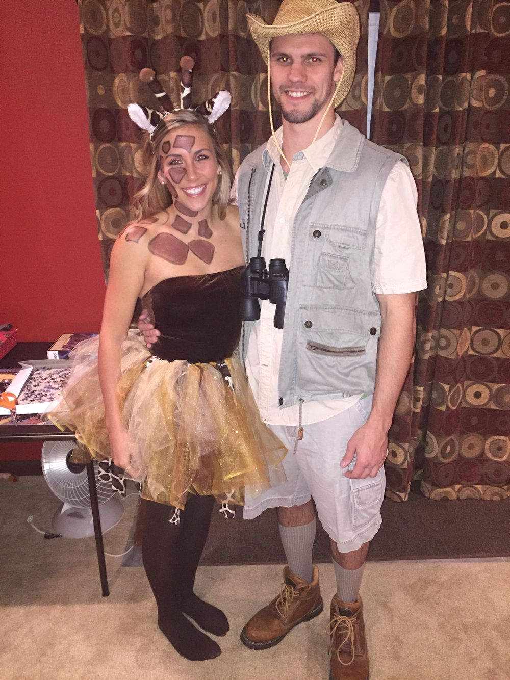 diy giraffe and safari guy easy halloween costumes