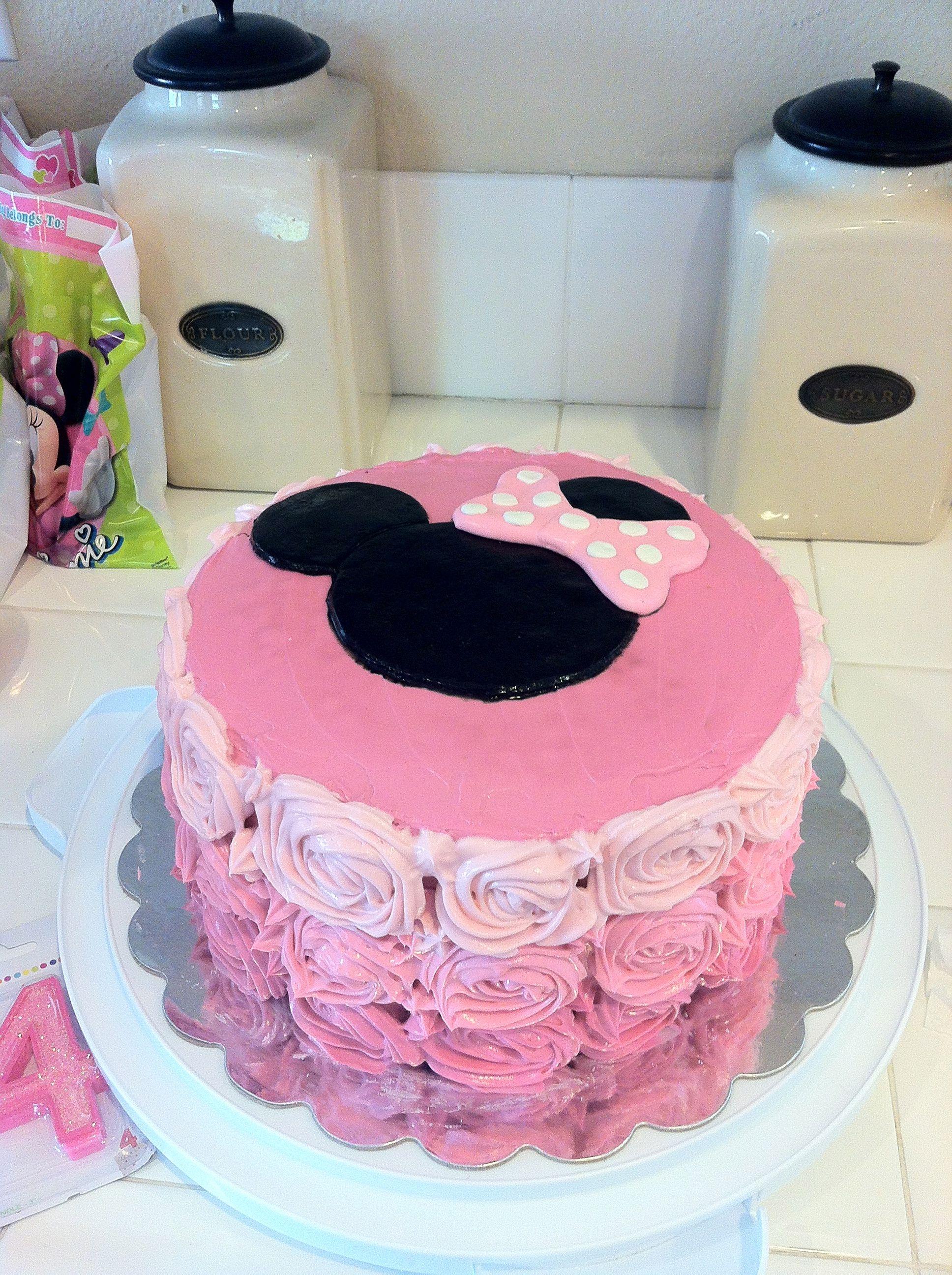 Ninas Minnie ombre rosette cake i love Pinterest Cake