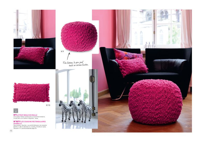 mod les de poufs et coussins tricoter en laine salsa. Black Bedroom Furniture Sets. Home Design Ideas