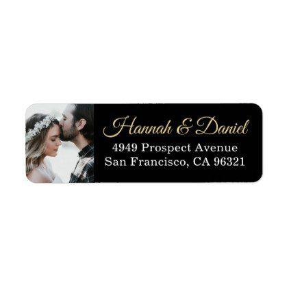 Chic Black Gold Photo Wedding Return Address Label In 2018