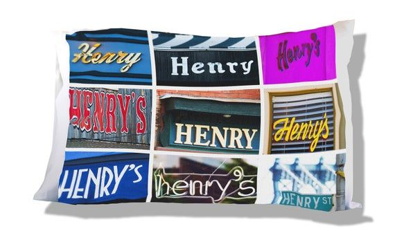 Personalized Pillow Case featuring HENRY in sign photos; Custom pillow cases; Teen bedroom decor; Co