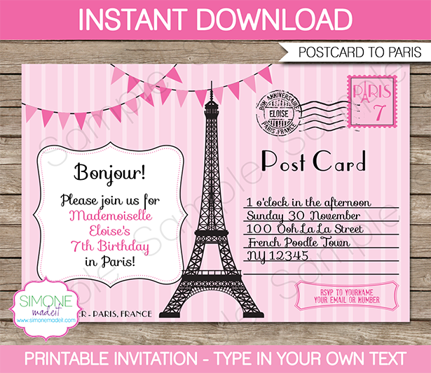 Paris Party Invitations Template pink – Customize Party Invitations