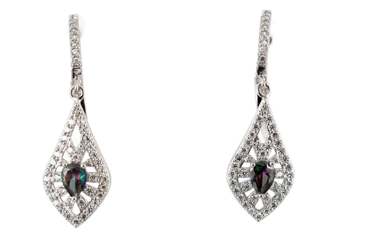 "2 Carat Pear Cut Mystic Topaz Rainbow Round Russian CZ 1.7"" Long Drop Dangle Bridesmaid earrings bride earrings wedding jewelry brides gift"