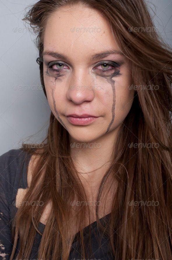 Young Woman Crying Looking At Camera Beautiful Close