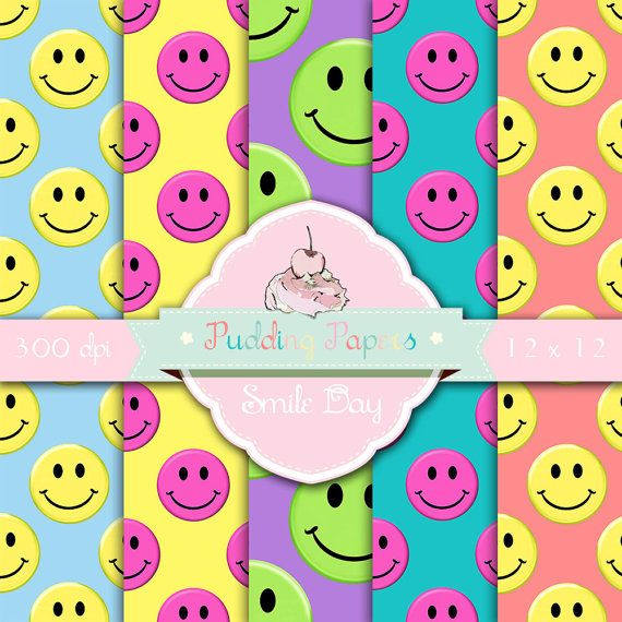 Smile Day - Instant Download - Digital Paper - Scrapbook Paper - Party Paper - Printable Sheet - Party Invitations - Digital Collage Sheet
