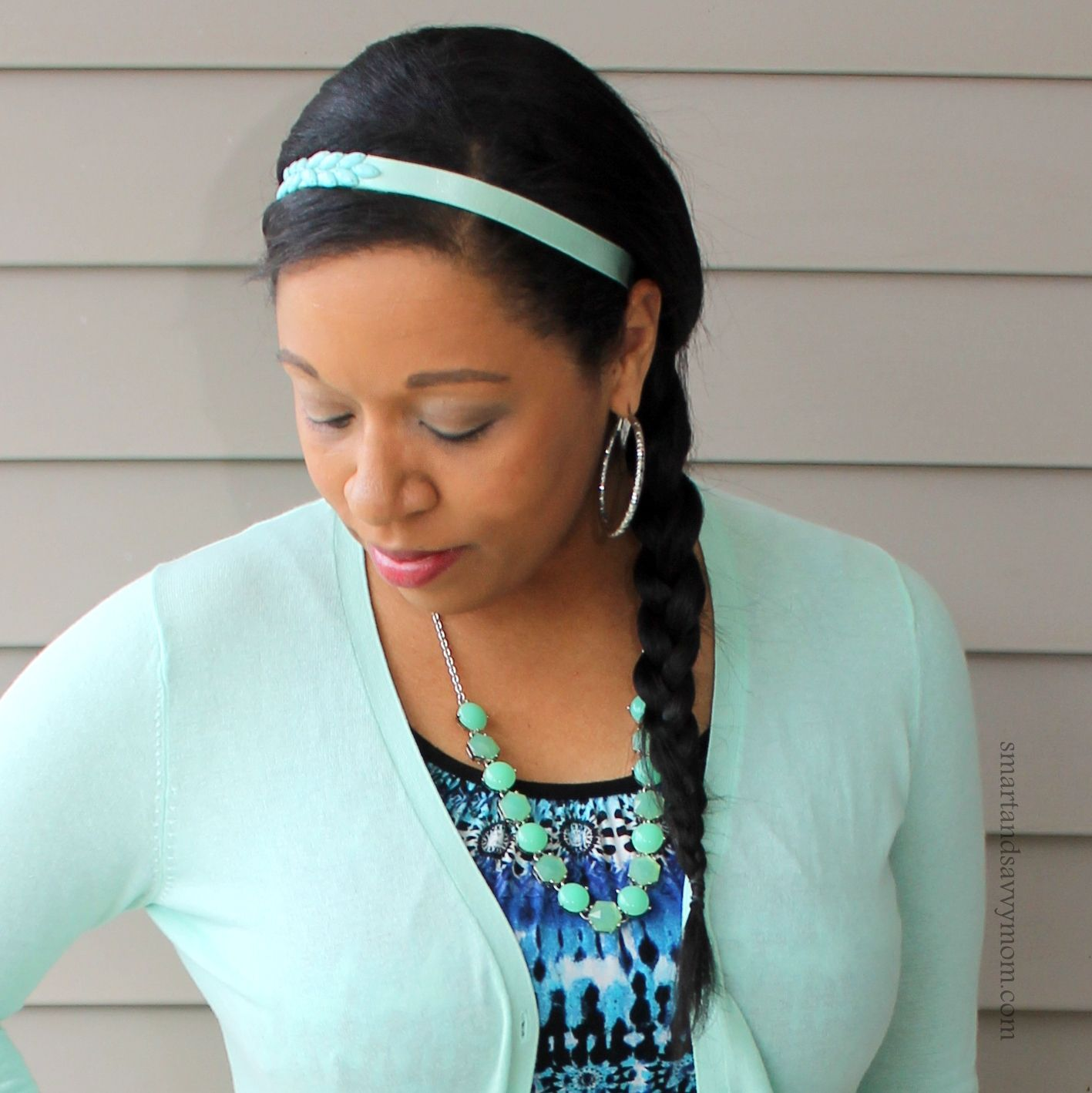 mint headband, mint necklace, mint cardigan with blue and black ...
