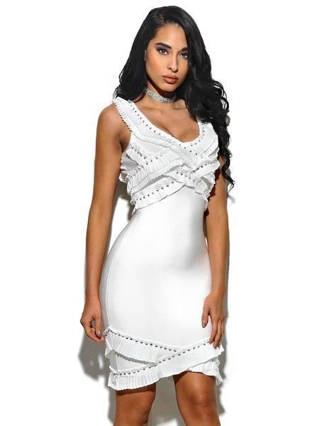 63f28f96 Devon Ruffle And Stud Bandage Dress | White Party | Pinterest ...