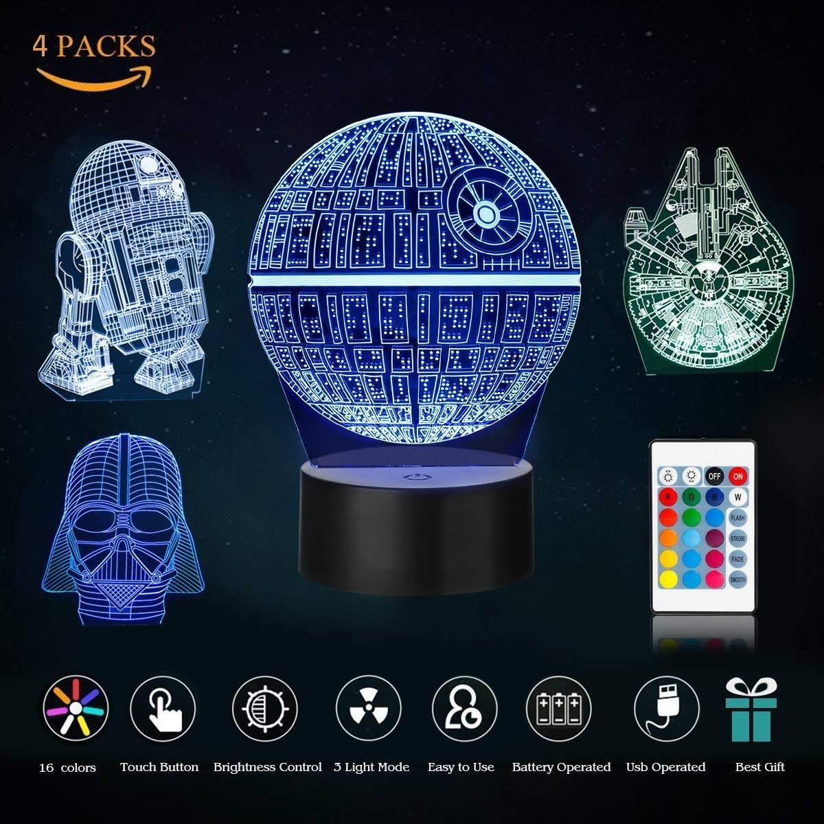 Rgb 3d Illusion Led Lamp Star Wars Desk Lantern Night Light Kids Cartoon Gifts Star Wars Gifts I Star Wars Night Light 3d Led Night Light Night Light Kids