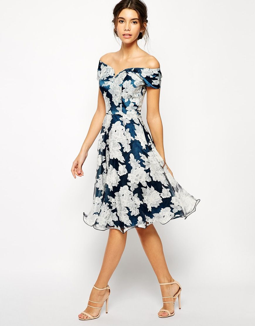 Dress For Cousin S Wedding Enlarge Chi London Printed Organza Midi Prom With Bardot Neck