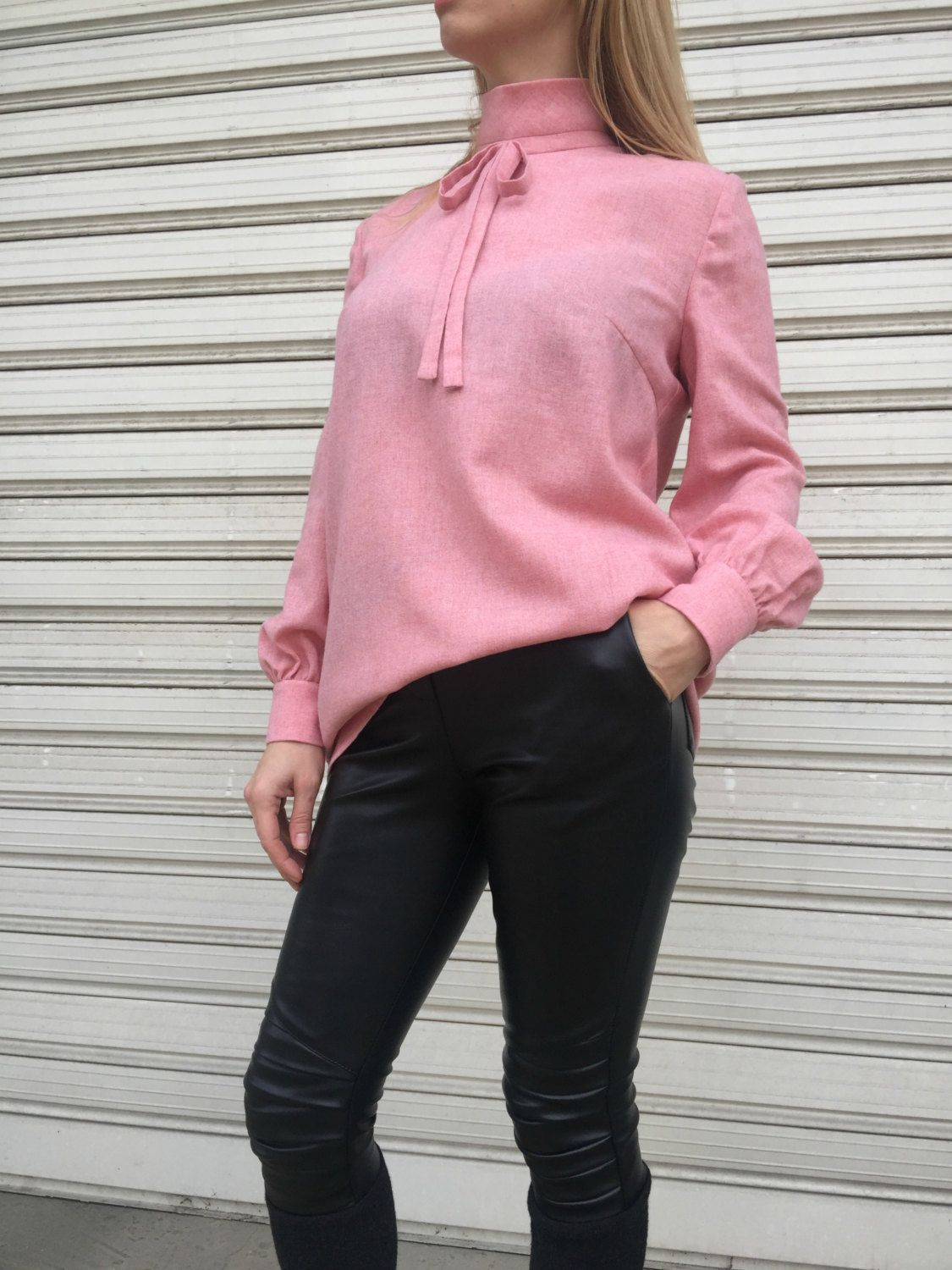 classy tops elegant women pink blouse loose shirt long sleeves top 7001