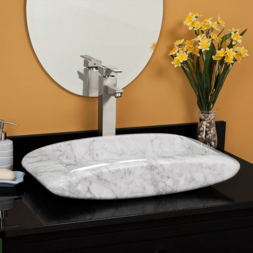 Italian Carrara Marble Rounded Rectangle Low Profile Vessel Sink