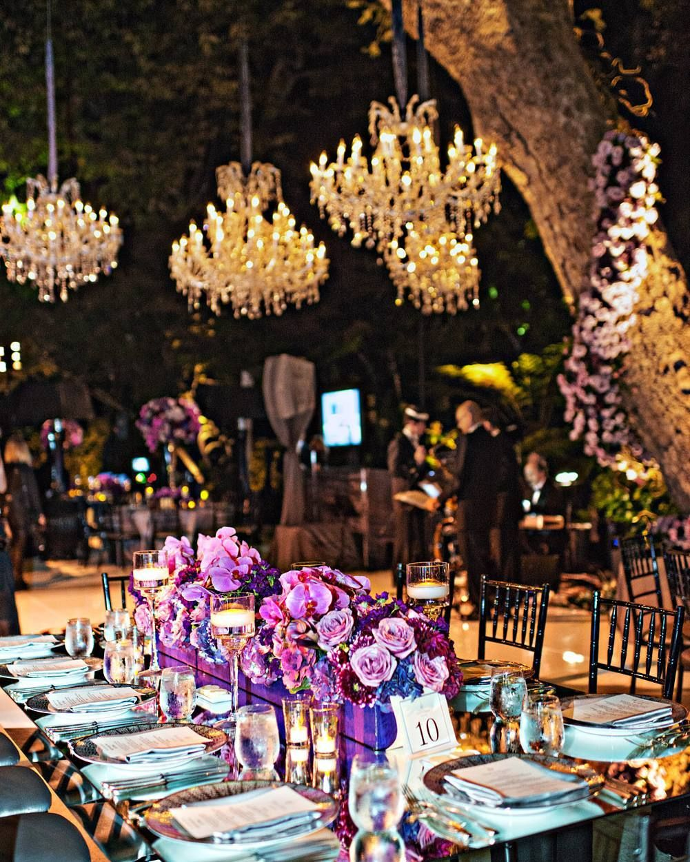 An outdoor reception would not be complete without crystal