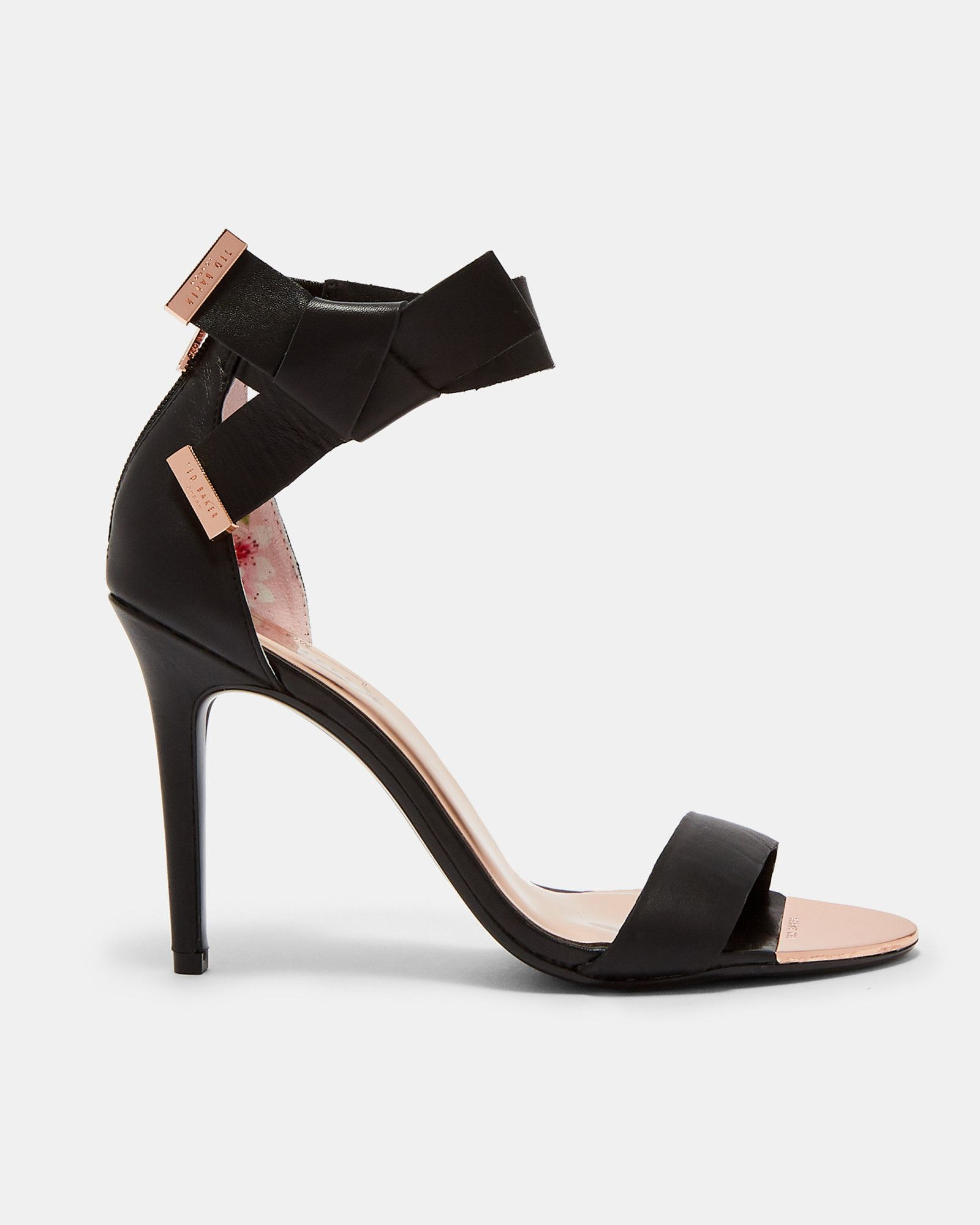86d82a1103a Ted Baker Knotted bow leather sandals Black   Products   Shoes ...