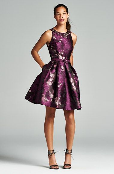 0c1d68b857 Eliza J Embellished Neck Jacquard Fit   Flare Dress at Nordstrom.com.   nordstr