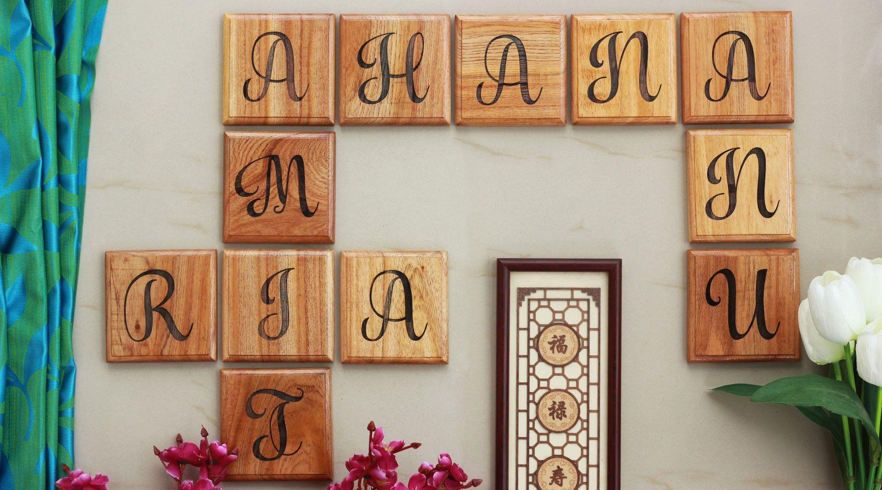 Personalized Family Tree Wooden Crossword Wall Art