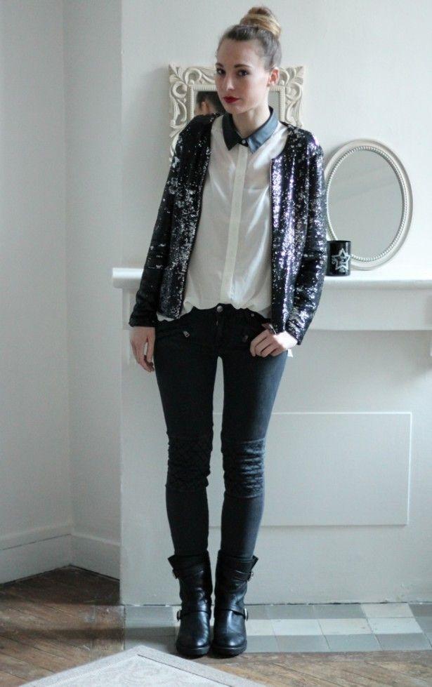 veste sequins mango chemisier sparkle fade slim gris. Black Bedroom Furniture Sets. Home Design Ideas