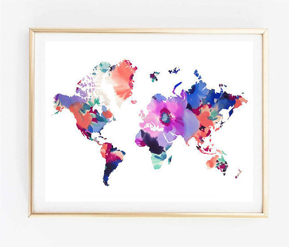 Map Art Floral World Map Painting Map Art Print Tumblr Art