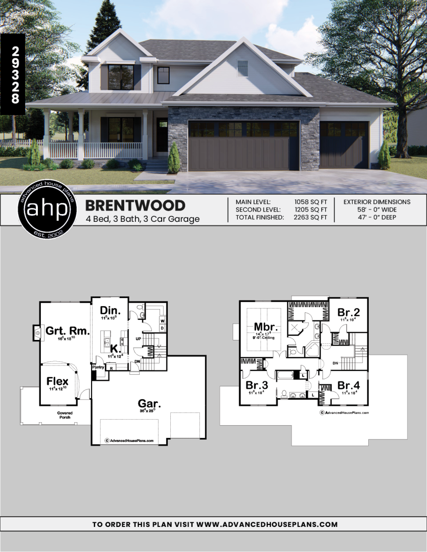 2 Story Modern Farmhouse House Plan Brentwood House Plans Farmhouse New House Plans House Blueprints