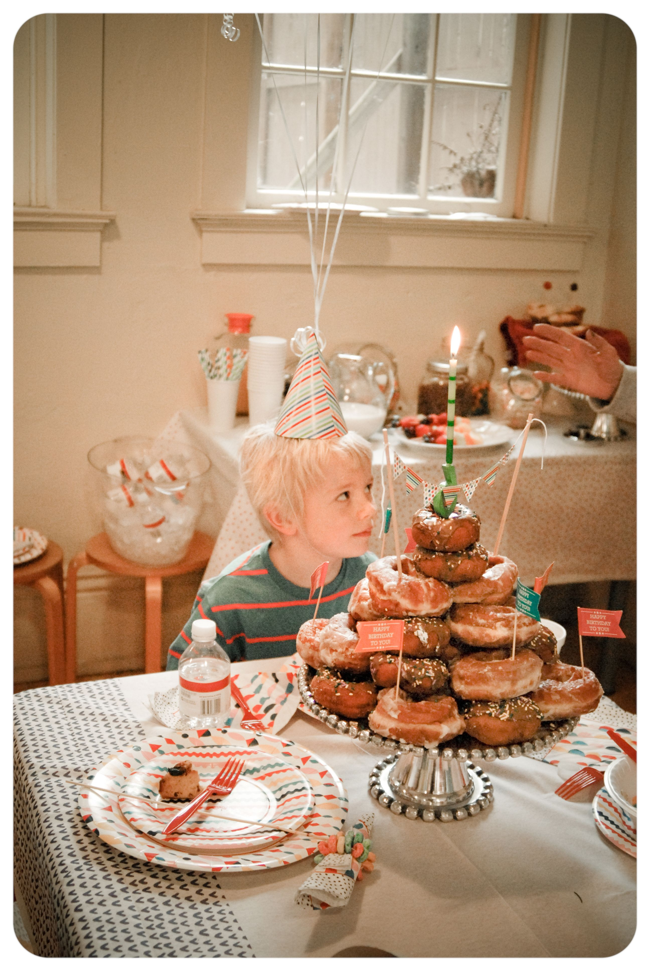 Breakfast Birthday Party Equipped With Donut Cake Check Out The