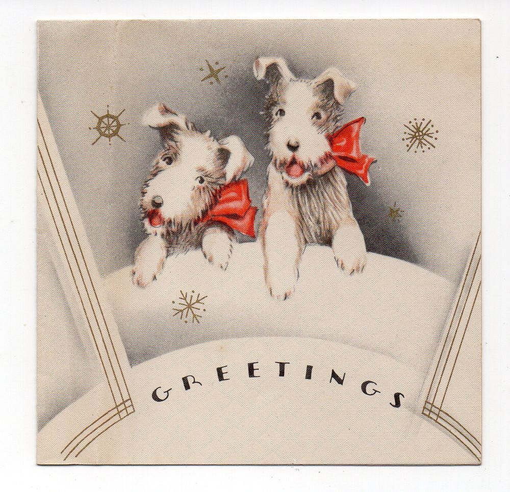 Vintage Christmas Greeting Card Art Deco Terrier Dogs 1930s