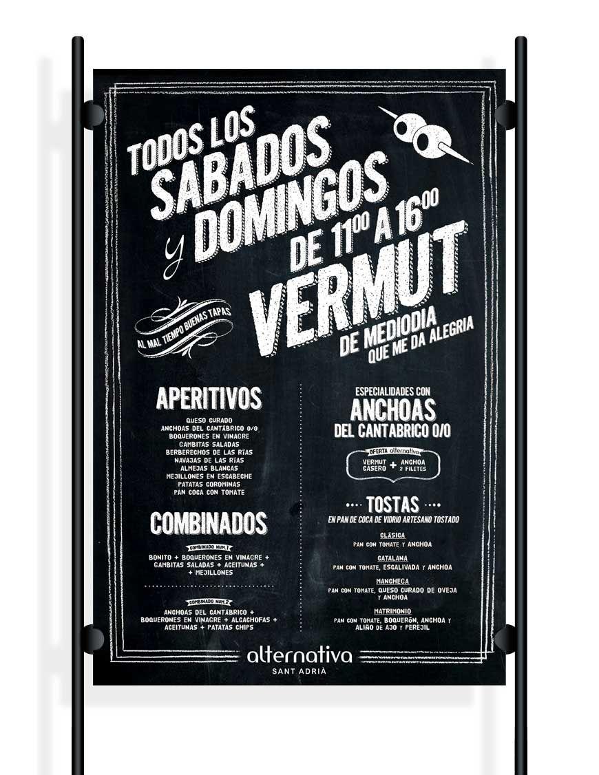 Cartel men especial vermut para bar musical hosteler a hostelry bar bares dise o y pizarra - Pizarras de bar ...