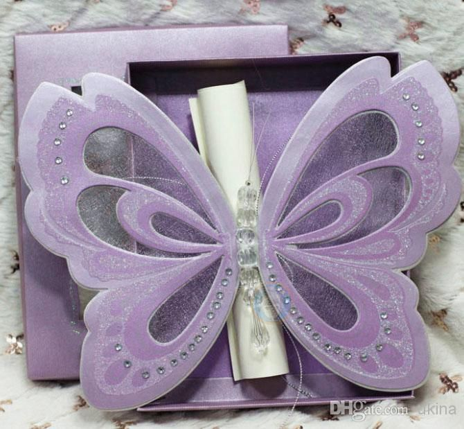 Purple Elegant Butterfly Wedding Invitations With Blank Scroll