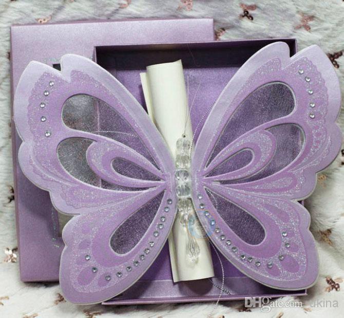 cheap invitation box discount purple elegant butterfly wedding invitations with blank scroll online with 693 - Discount Wedding Invitations