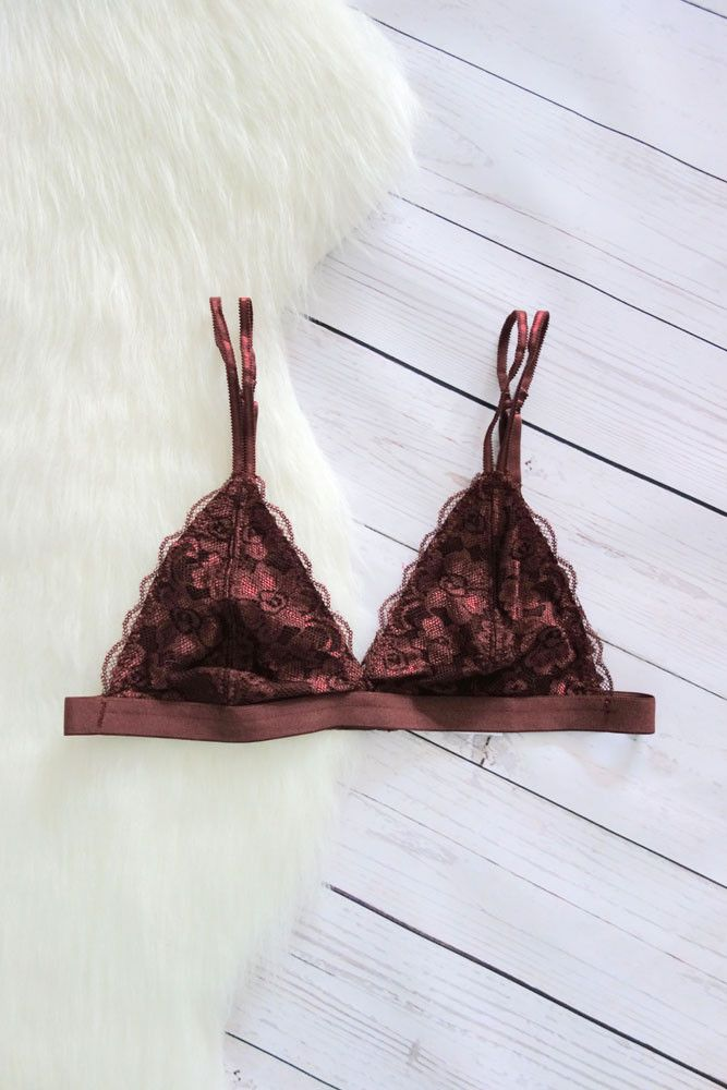 2d7e5a228d873 This lacy bralette is a must have this spring and summer. Features scalloped  triangle lined cups with a smooth elastic band.