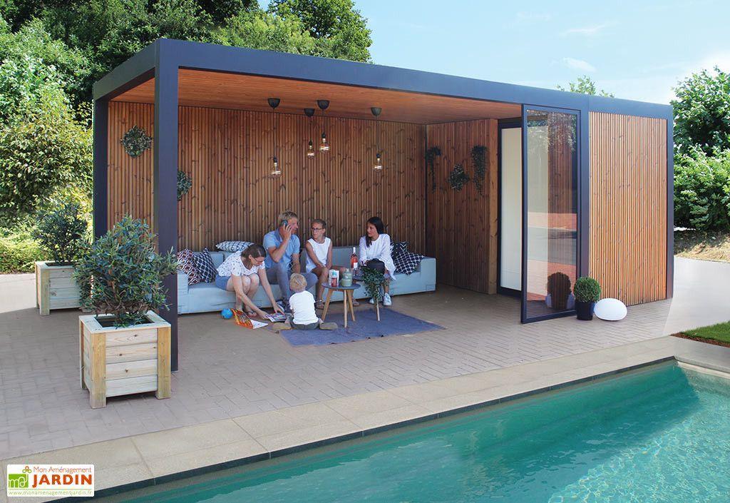 Pool House Abri Jardin En Aluminium Bois Traite Et Verre Maluwi 20 M Gardival Abri De Jardin Moderne Abri De Jardin Maison Piscine Moderne