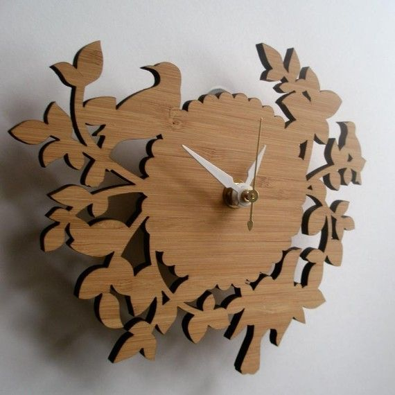 this Birds and Branches bamboo clock is so sweet. $68