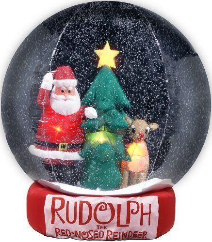 Gemmy Inflatable Christmas Snowglobe 8 Feet Rudolph And Santa