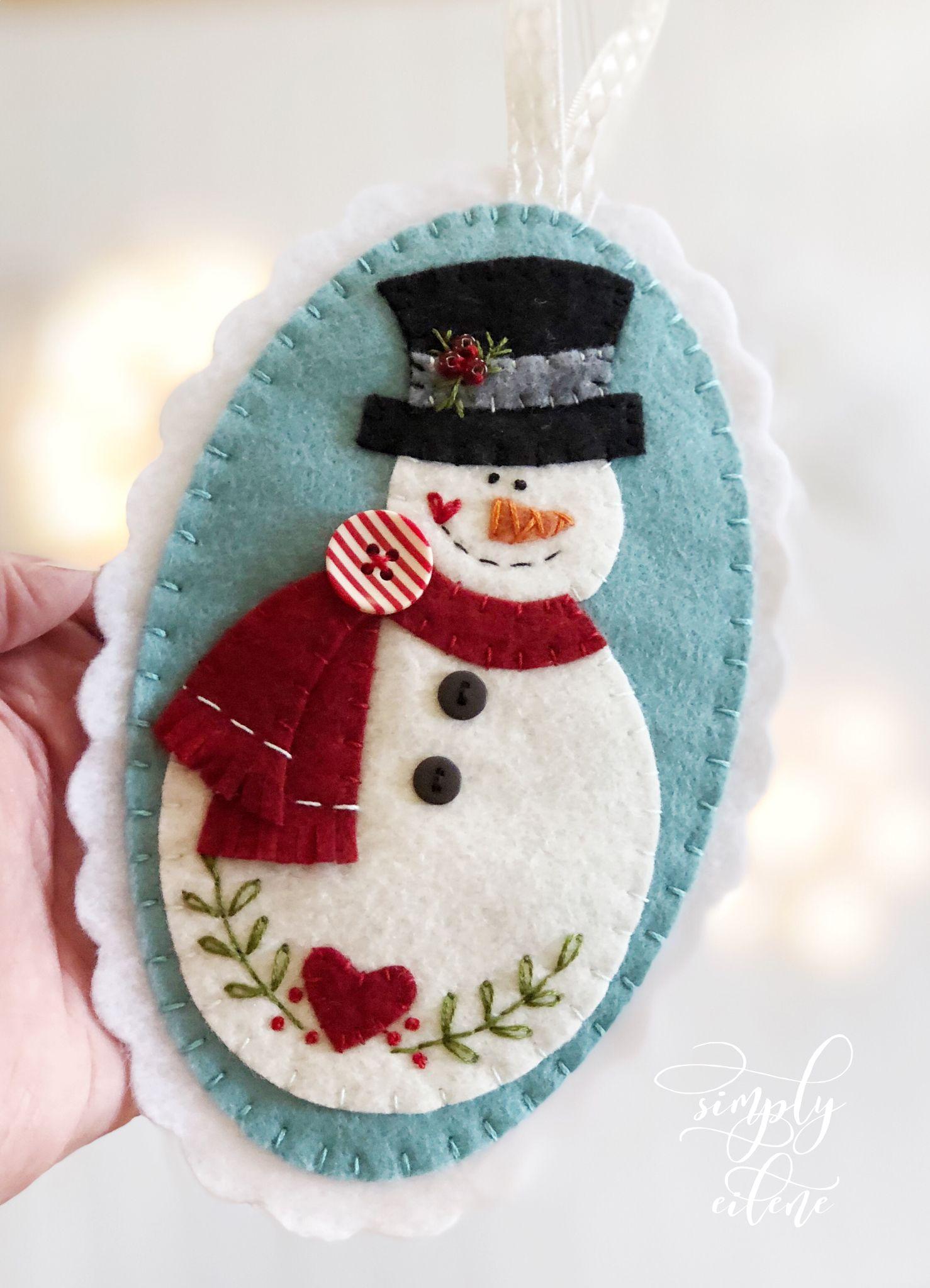 Snowman Christmas Felt Ornament Pattern Felt Crafts Christmas Felt Christmas Decorations Felt Christmas Ornaments