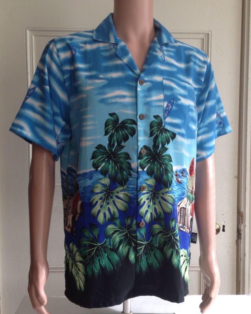 e2b3c0cc Mens Hawaiian Shirt Size Large Uluwatu L Aloha Camp Tropical #Uluwatu # Hawaiian