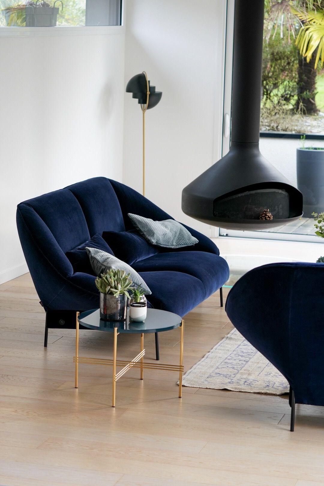 Realisations Salon Canape Decoration Interieure Velours Bleu