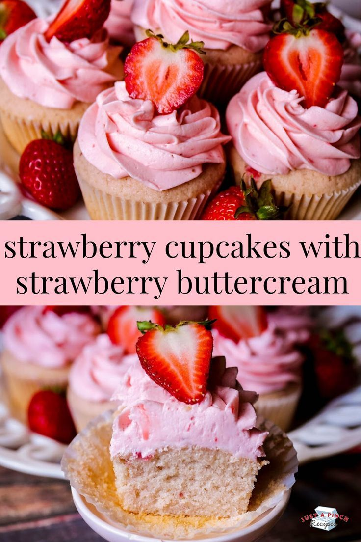 Photo of Strawberry Cupcakes With Strawberry Buttercream