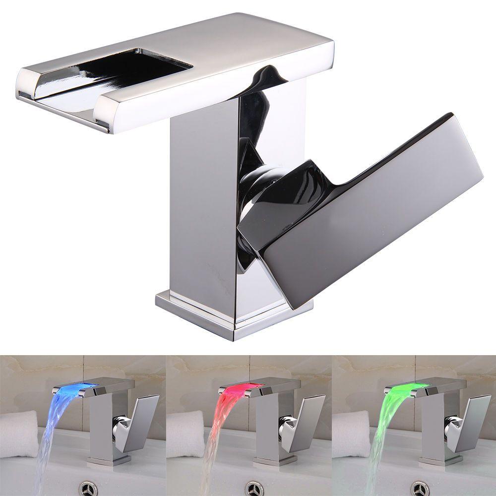 LED RGB Waterfall Chrome Single Lever No Battery Sink Basin Mixer ...