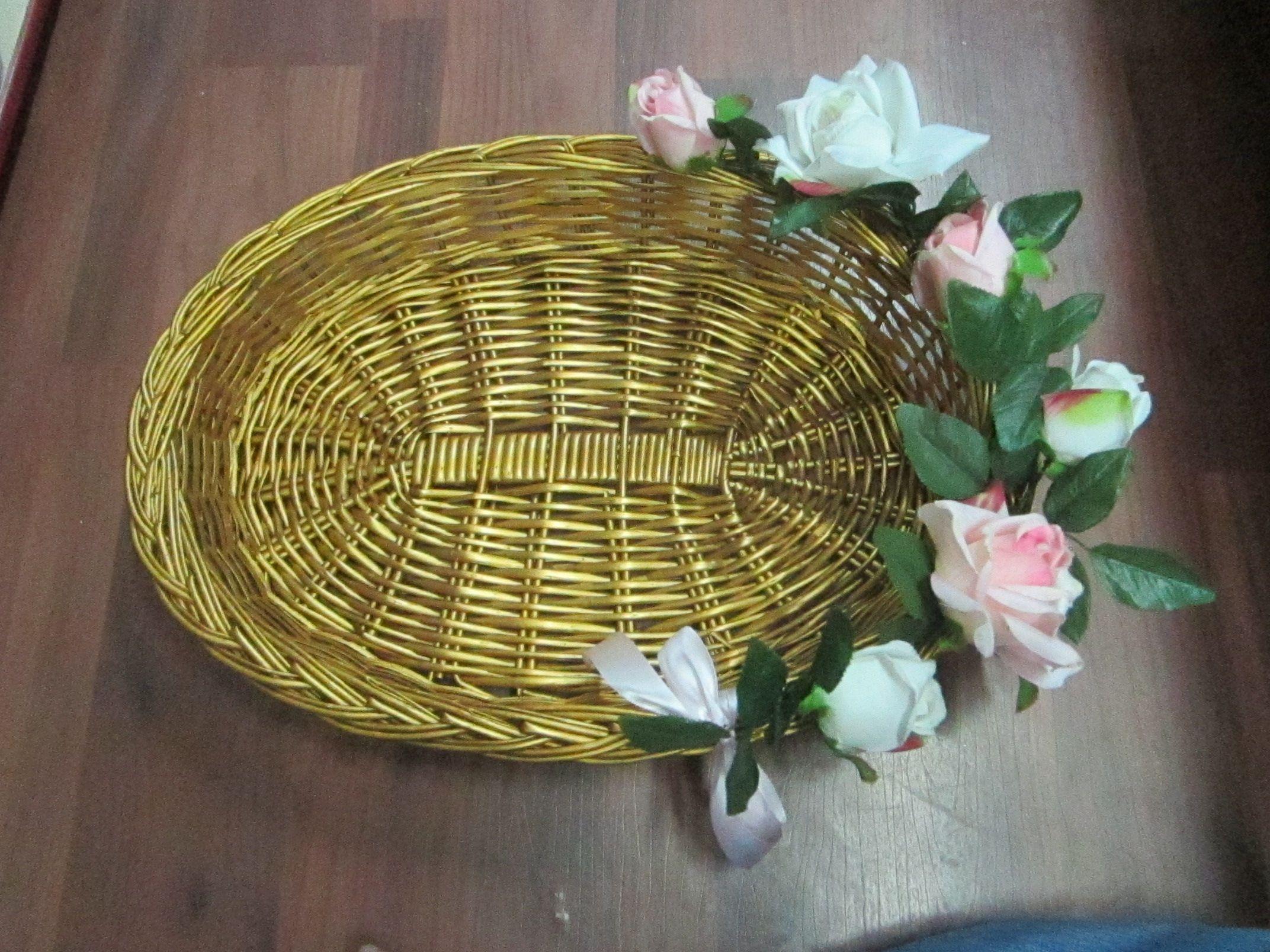 Cane Basket With Flowers Decorations Cane Baskets Basket