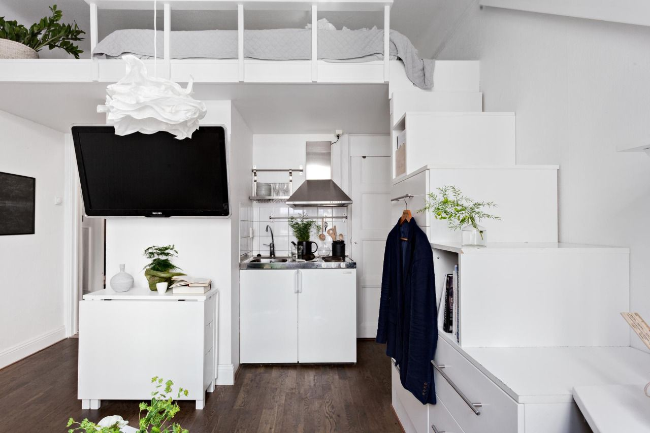 Small Efficient Studio Apartment With Loft Bed Small Apartments