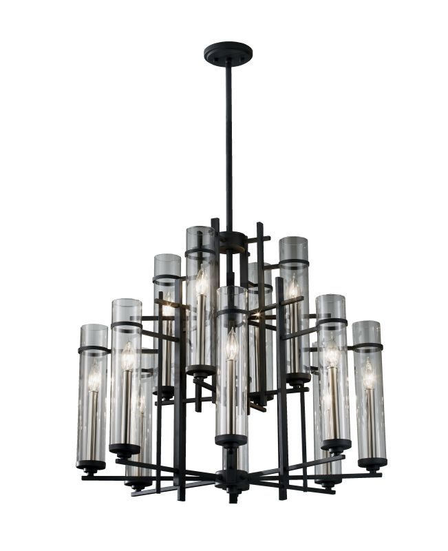Feiss F2629/8+4 Wrought Iron Twelve Light Up Lighting Multi-Tier Chandelier with Antique Forged Iron / Aged Walnut Indoor Lighting Chandeliers