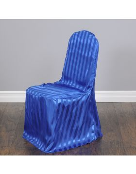 royal blue chair covers resin outdoor rocking chairs striped satin banquet cover decorations