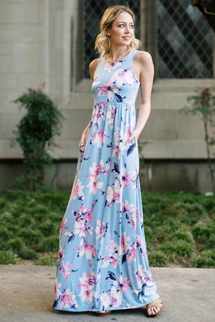 e08364c6c1f GOZON Women s Floral in the Sky Sleeveless Racerback Maxi Dress – GOZON  Boutique