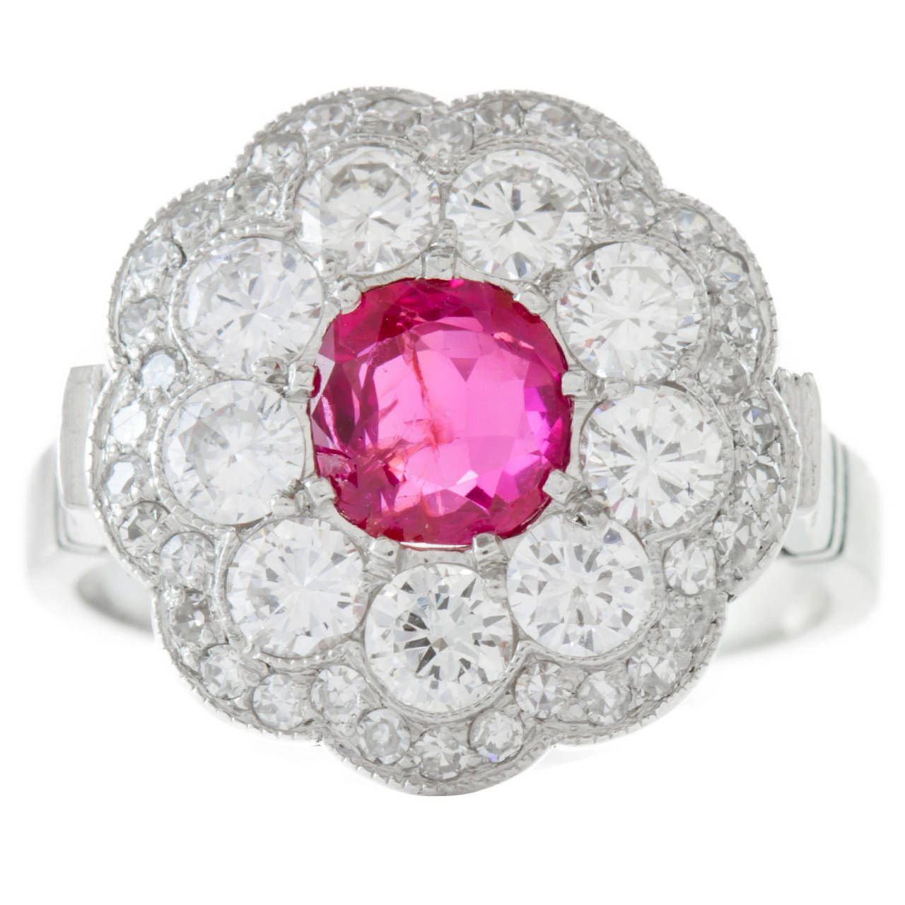 Circa 1950\'s Art Deco Platinum Ruby and Diamond Ring | Art deco ...