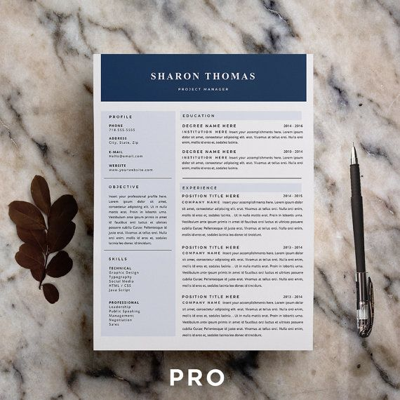 Resume Template CV Template + Cover Letter for MS Word
