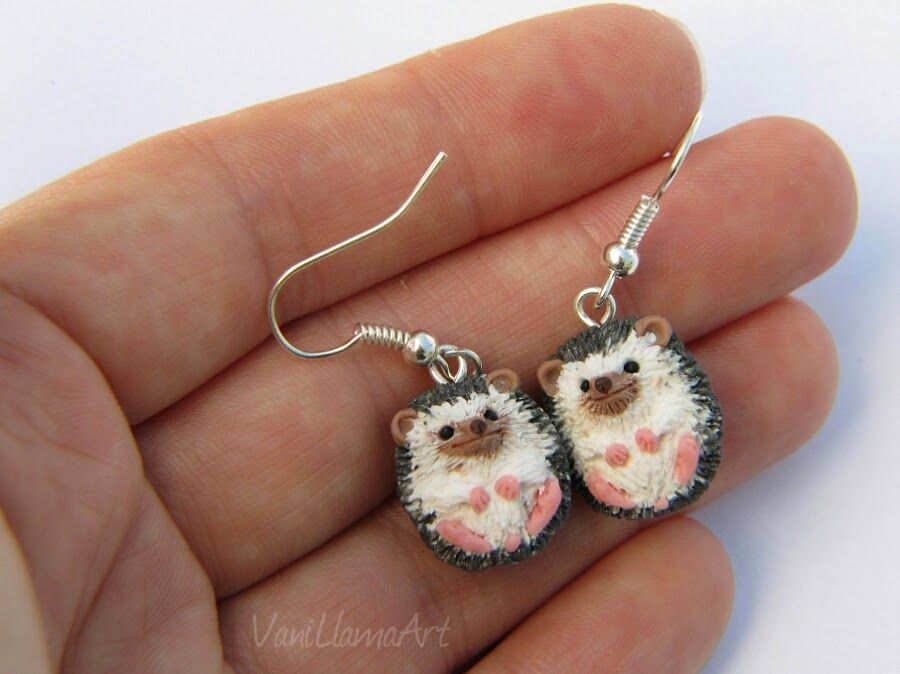 DIY Polymer Clay Hedgehog Earrings (Inspiration Only. No Pattern or Instructions.)