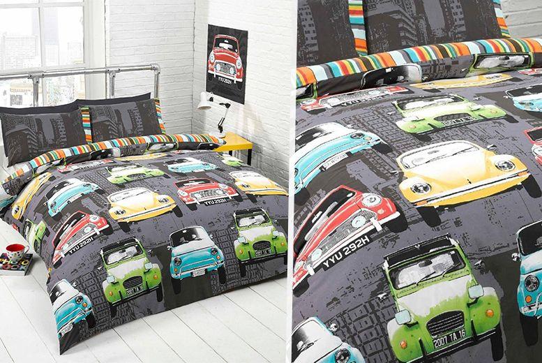 Retro Cars Reversible Duvet Set Duvet sets, Retro cars