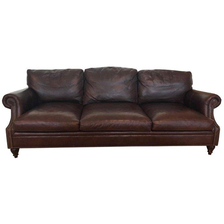 Luxurious Dark Brown Leather Ralph Lauren Sofa Dark Brown